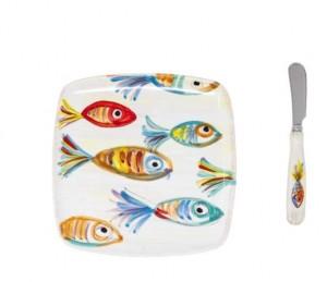 Pesci Colorati Square Plate with Spreader