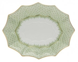 Apple Green Lace Fluted Medium Tray