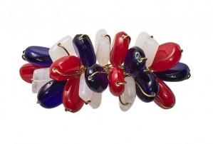 Poppy Napkin Ring in Red, White & Blue Set/4