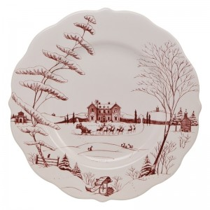 Country Estate Winter Frolic Ruby Dinner Plate