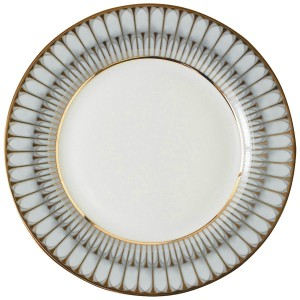 Arcades Grey and Gold Rim Soup Plate
