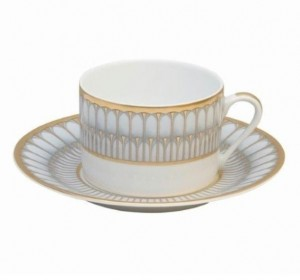 Arcades Grey and Gold Tea Cup and Saucer