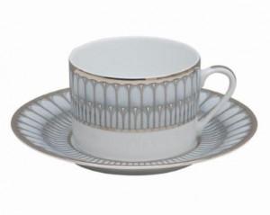 Arcades Grey and Platinum Tea Cup and Saucer