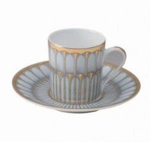 Arcades Grey and Gold Demitasse Cup and Saucer