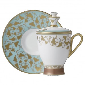 Imperial Jade Covered Tea Cup and Saucer