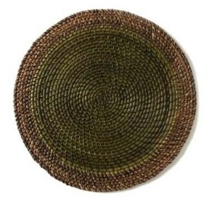 Round Placemat Shaded Rattan Leaf