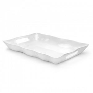 Ruffle White Large Handled Tray