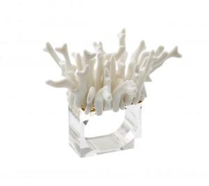 Amalfi Napkin Ring in White Set/4