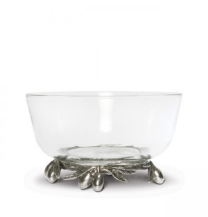 Olive Grove Glass and Pewter Bowl