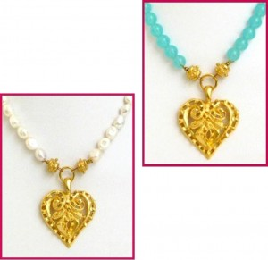 Hand Cast Gold Heart Necklace