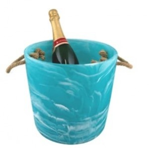 Resin Ice Bucket in Aqua Swirl