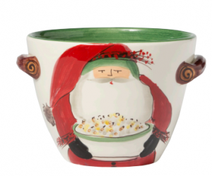 Old St. Nick Handled Deep Serving Bowl with Popcorn