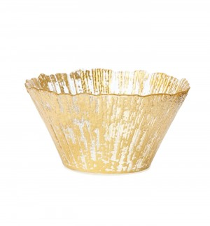 Ruffle Glass Gold Small Deep Bowl