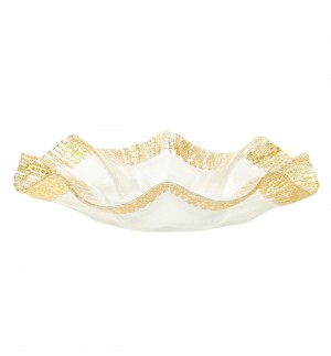 Ruffle Glass Gold Platter