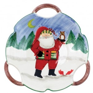 Old St. Nick Handled Scallop Bowl Santa with Owl