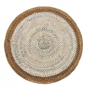 Shaded Rattan Placemat in White