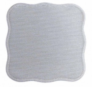 Square Scallop Placemat in Silver Metallic