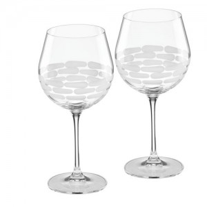 Truro Frosted Red Wine Glass Set/2