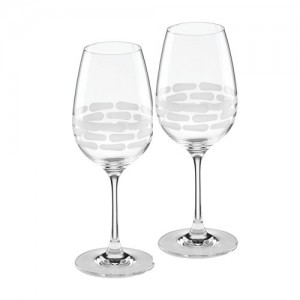 Truro Frosted White Wine Glass Set/2